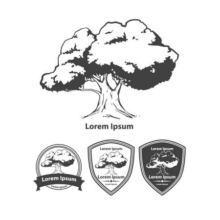 tree logo template, design elements, garden emblem, concept, eco idea, ecology  simple illustration