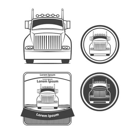 front loading: logo truck, simple vector illustration, transporation, front view, emblems, design elements