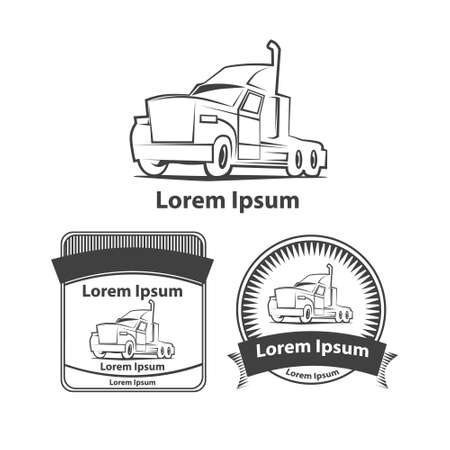 front loading: logo truck design template, simple vector illustration, elements