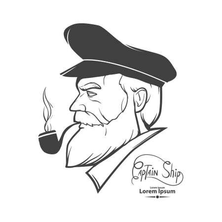 hombre viejo: Hombre del carácter retrato de silueta, capitán, simple ilustración