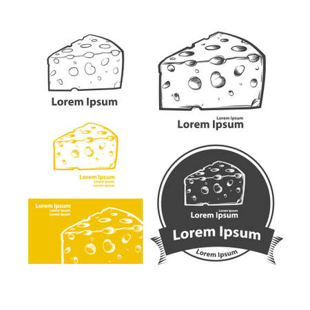 cheese simple illustration, for label, emblem and design templates