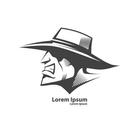 vaquero, símbolo, simple ilustración, vista de perfil, hombre de sombrero, concepto de salvaje oeste Ilustración de vector