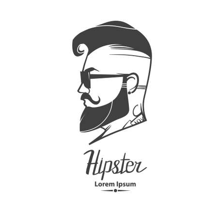 male face profile: hipster label badge
