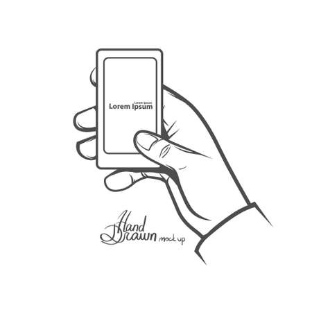 hand holding smart phone: hand holding smart phone, simple illustration, hand drawn, isolated on white background Illustration