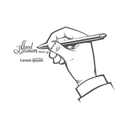 hand pen: hands holding pen, writing something, simple illustration, hand drawn, isolated on white background