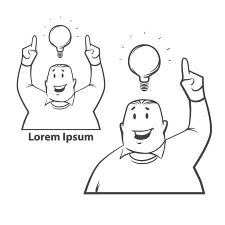 has: simple illustration, man has idea, finger pointed up, light, think