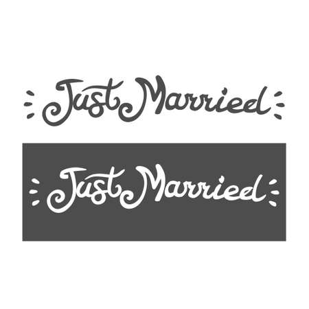 just married, lettering, for artwork