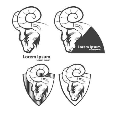 aries: ram s�mbolo americano de f�tbol, ??simple ilustraci�n, emblema del equipo deportivo, elementos de dise�o y etiquetas Vectores