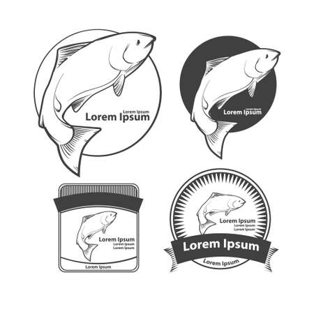 salmon fish: jumping salmon fish, for label, design elements ant templates, retro style