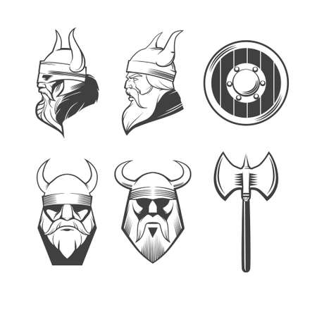 norseman: viking head, shield and axe, viking weapons, security idea