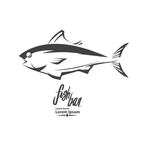 fish template, simple illustration, fishing concept, tuna Ilustracja