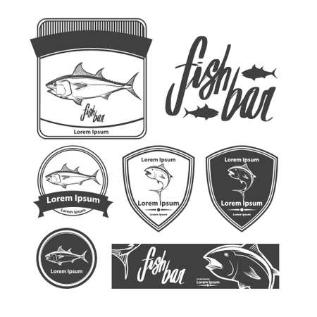 fish template, simple illustration, fishing concept, tuna, design elements, label 矢量图像