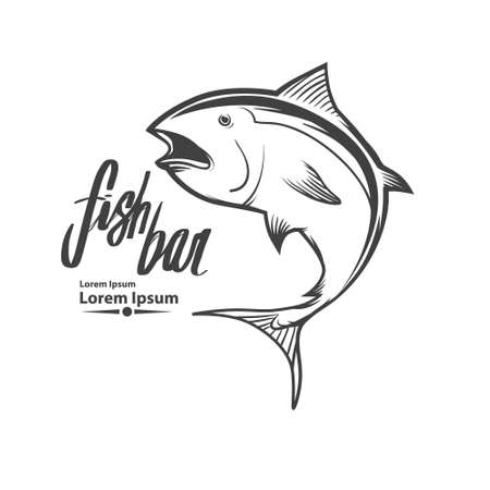 Fisch-Vorlage, einfache Illustration, Angeln Konzept, Thunfisch Standard-Bild - 51942360