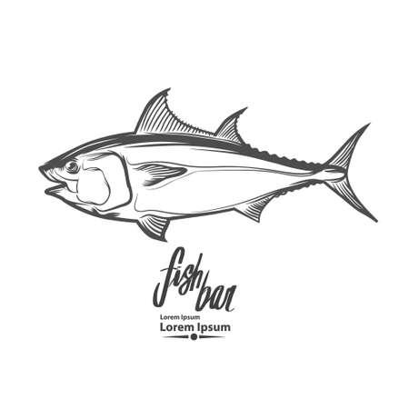 plantilla de pescado, simple ilustración, el concepto de la pesca, el atún