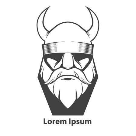 einfache Illustration, Wikinger Kopf, Vorderansicht, wütend, Sport Team