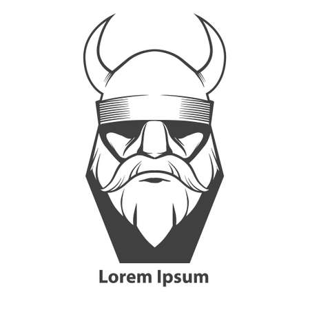 viking: simple illustration, viking head, front view, angry, sport team Illustration