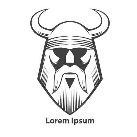 vikingo: El ejemplo simple, jefe vikingo, vista frontal, enojado, equipo de deporte
