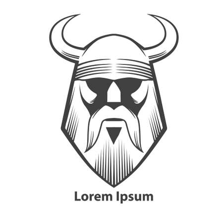 simple illustration, viking head, front view, angry, sport team