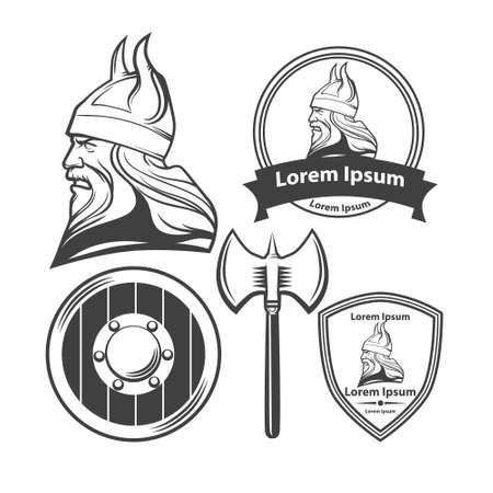vikingo: jefe vikingo, escudo y el hacha, armas viking, idea de la seguridad