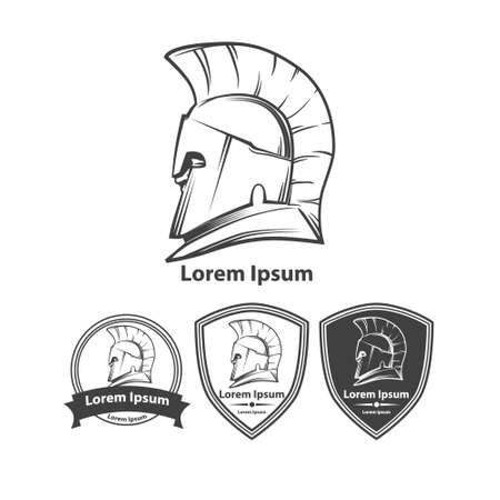 Greek helmet, profile view, silhouette