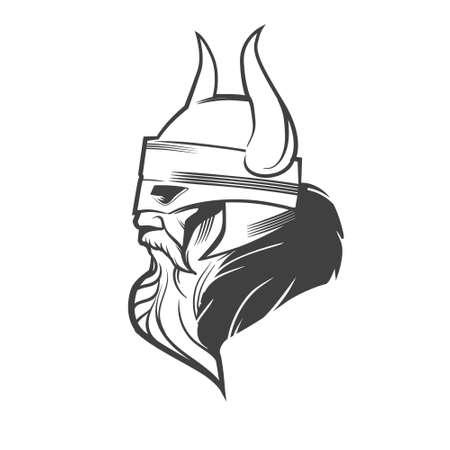 El ejemplo simple, jefe vikingo, vista de perfil, enojado, equipo de deporte Ilustración de vector