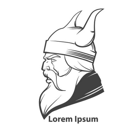 norseman: simple illustration, viking head, profile view, angry, sport team