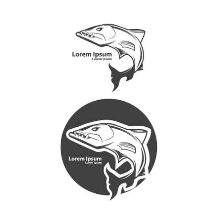 fish barracuda, simple illustration, sport team emblem, mascot idea