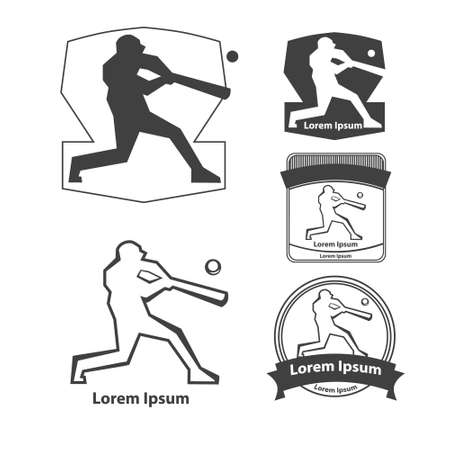 hits: baseball, baseball player hits a ball, silhouette, concept, design elements