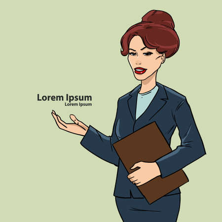 cute businesswoman with documents showing something, comicbook style