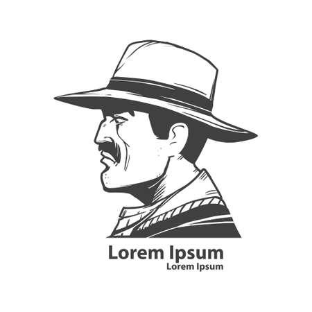 maverick: cowboy head, symbol, simple illustration, profile view, man in hat, wild west concept