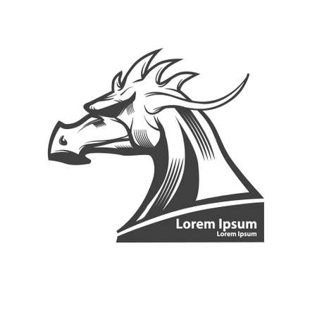 dragon head: dragon head, american football symbol, simple illustration, sport team emblem, security idea