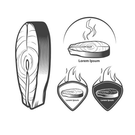salmon steak: salmon steak, design elements, for restaurant menu design, simple illustration