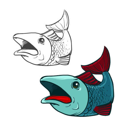 rainbow trout: cartoon fish, simple illustration Illustration