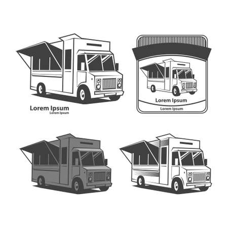 hot food: food truck emblem, design elements, simple illustration