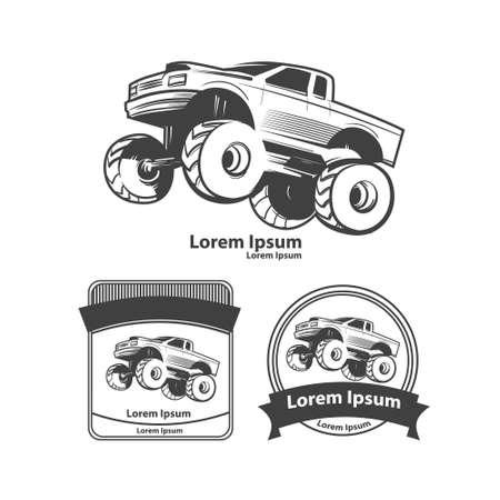 monster truck, bigfoot car, design elements, simple illustration