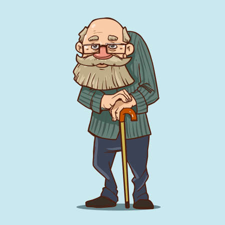 old man with cane, cartoon character, funny grandfarther Illustration