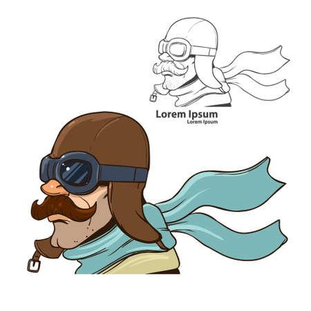 비행사 헬멧을 가진 남자 일러스트