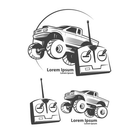 children's story: remote control car, shop concept, monster truck, bigfoot car, simple illustration
