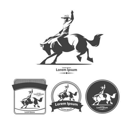 cowboy at rodeo, vintage emblems, design elements, wild west concept