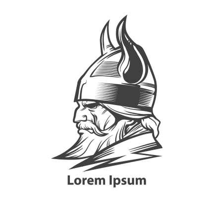 vikingo: cabeza simple ilustración vikingo, vista de perfil, enojado, equipo de deporte
