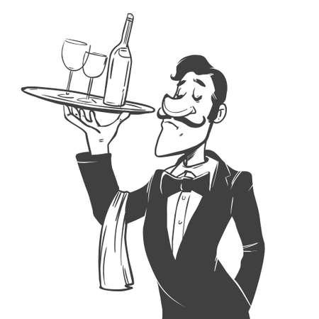 valet: cartoon character, simple illustration for menu, design Illustration