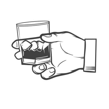 hand holding a glass of whiskey, simple illustration