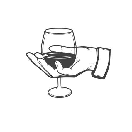 sommelier: hand with a wineglass, sommelier concept, wine, simple illustration