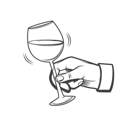 drunkard: hand with a wineglass, sommelier concept, wine, simple illustration