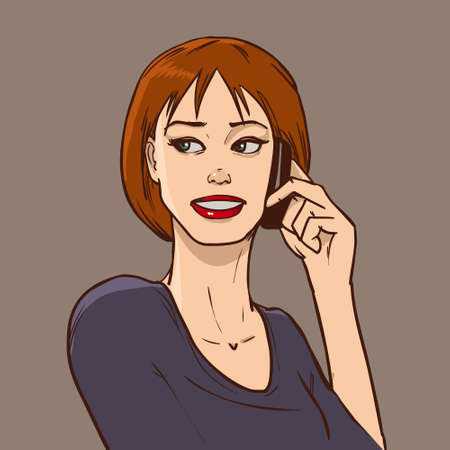 answering phone: woman talking on the phone, comic book style, communication Illustration