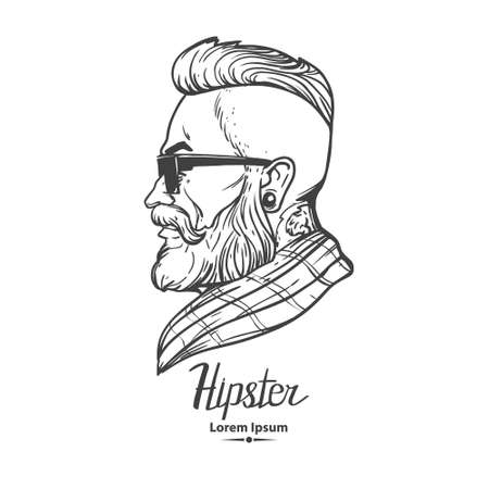 man profile: hipster label badge simple iilustration, man, profile view