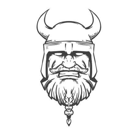 norseman: simple illustration viking head, front view, angry, sport team