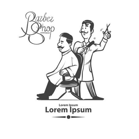 white pole: cartoon barber with client, barbershop, simple illustration, isolated on background