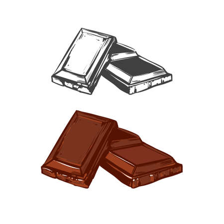 chocoholic: chocolate pieces, hand drawn vector set, simple illustration for your design, for menu Illustration