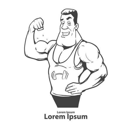 Atleta che mostra byceps, muscolare allenatore bodybuilding, personaggio dei cartoni animati, semplice illustrazione